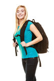 Smiling teen girl female student with bag backpack Royalty Free Stock Photos