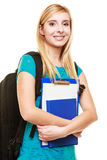 Smiling teen girl female student with books Stock Photo