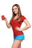 Smiling teen girl holding blank credit card Stock Photos