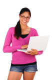 Smiling Teen Girl with Laptop Stock Image