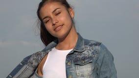 Smiling Teen Girl Modeling Or Posing stock video footage