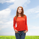 Smiling teen girl outdoors Royalty Free Stock Image