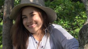 Smiling Teen Girl At Park stock footage