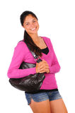 Smiling Teen Girl with Purse Stock Images