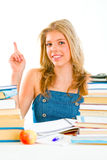 Smiling teen girl with rised finger. Idea gesture Royalty Free Stock Photo