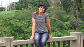 Smiling Teen Girl Sitting stock footage