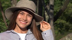 Smiling Teen Girl During Summer stock video footage
