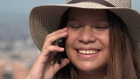Smiling Teen Girl Talking On Cell Phone stock video