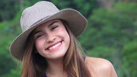 Smiling Teen Girl Wearing Hat stock video