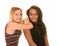 Smiling teen girls. Smiling blond and brunette teenage girls Stock Images
