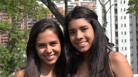 Smiling Teen Girls at Public Park stock video footage