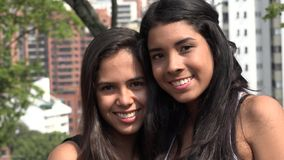 Smiling Teen Girls at Public Park stock footage