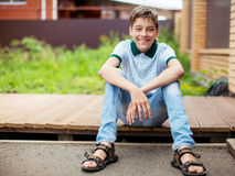 Smiling teen outdoors at summer Royalty Free Stock Images