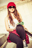 Smiling Teen Skater Girl. Pretty smiling teen skater girl stock photos