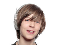 Smiling teenage boy with headphones Royalty Free Stock Photo