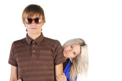 Smiling teenage couple. Royalty Free Stock Photo