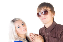 Smiling teenage couple. Royalty Free Stock Images