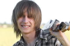Smiling teenage emo guitarist Royalty Free Stock Images