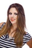 Smiling teenage fashion model stock photography