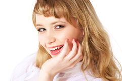 Smiling teenage girl. Portrait of a beautiful young teenager. Close up face Royalty Free Stock Images