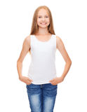 Smiling teenage girl in blank white shirt Royalty Free Stock Photos
