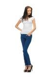 Smiling teenage girl in blank white t-shirt Royalty Free Stock Photos