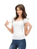 Smiling teenage girl in blank white t-shirt Royalty Free Stock Image