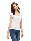 Smiling teenage girl in blank white t-shirt Stock Photography
