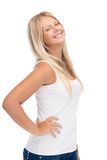 Smiling teenage girl in blank white t-shirt Stock Photos