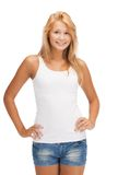 Smiling teenage girl in blank white t-shirt Stock Images