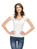 Smiling teenage girl in blank white t-shirt Royalty Free Stock Images