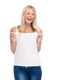 Smiling teenage girl in blank white t-shirt Stock Image
