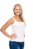 Smiling teenage girl in blank white t-shirt Royalty Free Stock Photos