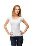 Smiling teenage girl in blank white t-shirt Stock Photos