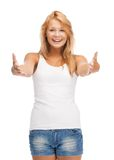 Smiling teenage girl in blank white t-shirt Stock Photo