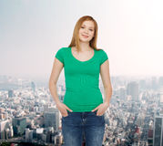 Smiling teenage girl in casual clothes Stock Images
