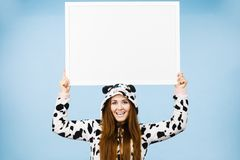 Funny girl with blank empty banner board stock photography