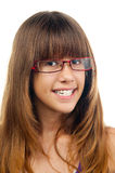 Smiling teenage girl with glasses and dentures Stock Images