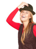Smiling teenage girl in green hat Royalty Free Stock Photography