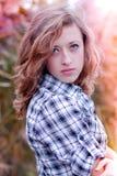 Smiling teenage girl head shot portrait Stock Photos