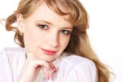 Smiling teenage girl with long blond hair Royalty Free Stock Photos