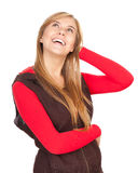Smiling teenage girl looking up Royalty Free Stock Images