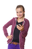 Smiling teenage girl with mobile phone, , isolated on white Royalty Free Stock Photo