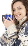 Smiling teenage girl with mug of coffee Stock Photography