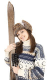 Smiling teenage girl with old wooden skis Stock Photography