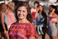 Smiling Teenage Girl Outside Royalty Free Stock Photo