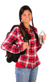 Smiling Teenage Girl with Plaid Shirt Water Bottle Stock Photos