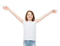 Smiling teenage girl with raised hands Royalty Free Stock Photo