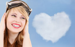 Smiling teenage girl in snowboard goggles Stock Images
