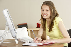 Smiling Teenage Girl Studying at Home Stock Photos